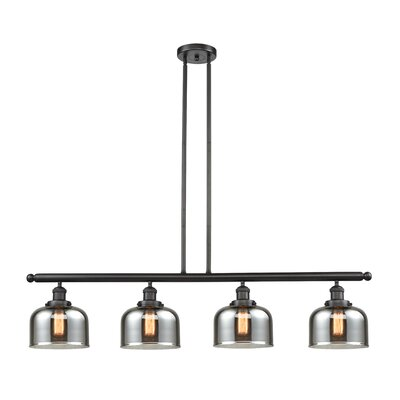 Glass Bell 4-Light Kitchen Island Pendant Finish: Oil Rubbed Bronze, Shade Color: Smoked, Size: 48 W x 8 D