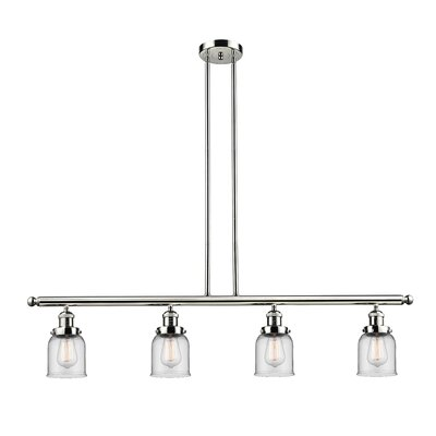 Glass Bell 4-Light Kitchen Island Pendant Finish: Polished Nickel, Shade Color: Clear, Size: 48 W x 5 D