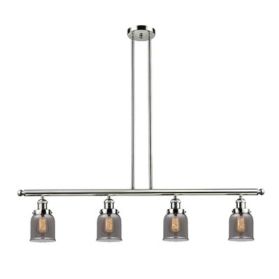 Glass Bell 4-Light Kitchen Island Pendant Finish: Polished Nickel, Shade Color: Smoked, Size: 48 W x 5 D
