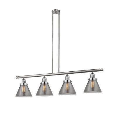 Glass Cone 4-Light Kitchen Island Pendant Finish: Brushed Satin Nickel, Shade Color: Smoked, Size: 48 W x 5 D