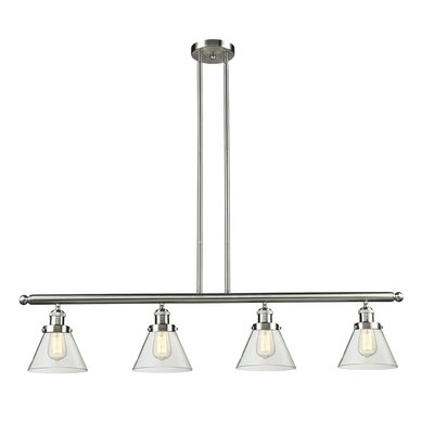 Glass Cone 4-Light Kitchen Island Pendant Finish: Satin Nickel, Shade Color: Smoked, Size: 48 W x 5 D