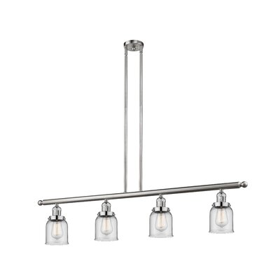 Glass Bell 4-Light Kitchen Island Pendant Finish: Brushed Satin Nickel, Shade Color: Clear, Size: 48 W x 5 D