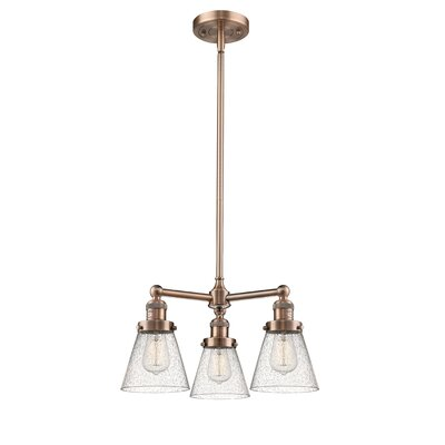 Adalwen Small Cone 3-Light Mini Chandelier Finish: Antique Copper