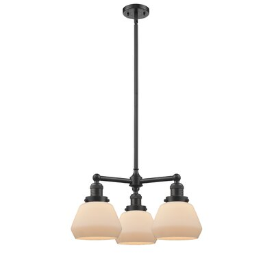 Dupree 3-Light Mini Chandelier Finish: Oil Rubbed Bronze, Shade Color: Matte White Cased Fulton