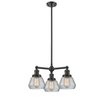 Dupree 3-Light Mini Chandelier Finish: Oil Rubbed Bronze, Shade Color: Clear Fulton