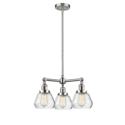 Dupree 3-Light Mini Chandelier Finish: Brushed Satin Nickel, Shade Color: Clear Fulton