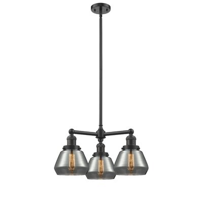 Dupree 3-Light Mini Chandelier Finish: Oil Rubbed Bronze, Shade Color: Plated Smoked Fulton