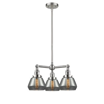Dupree 3-Light Mini Chandelier Finish: Brushed Satin Nickel, Shade Color: Plated Smoked Fulton