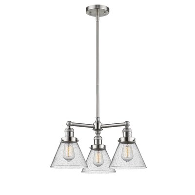 Adelinda Large Cone 3-Light Mini Chandelier Finish: Brushed Satin Nickel