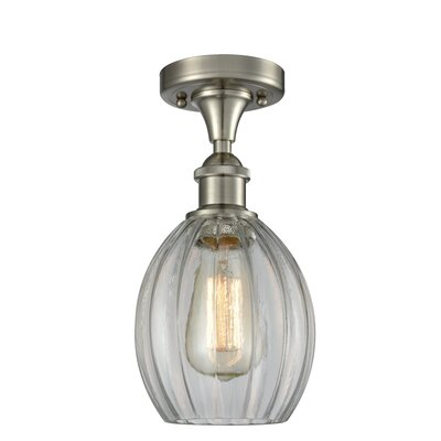 Raylene 1-Light Semi Flush Mount Fixture Finish: Brushed Satin Nickel