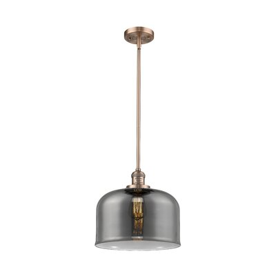 Che 1-Light Mini Pendant Finish: Antique Copper, Shade Color: Smoked, Size: 13 H x 12 W x 12 D