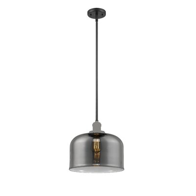 Che 1-Light Mini Pendant Finish: Black Brushed Brass, Shade Color: Smoked, Size: 13 H x 12 W x 12 D