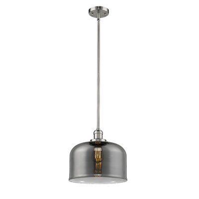 Che 1-Light Mini Pendant Finish: Polished Nickel, Shade Color: Smoked, Size: 13 H x 12 W x 12 D