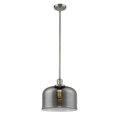 Che 1-Light Mini Pendant Finish: Brushed Satin Nickel, Shade Color: Smoked, Size: 13 H x 12 W x 12 D