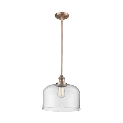 Che 1-Light Mini Pendant Finish: Antique Copper, Shade Color: Clear, Size: 13 H x 12 W x 12 D