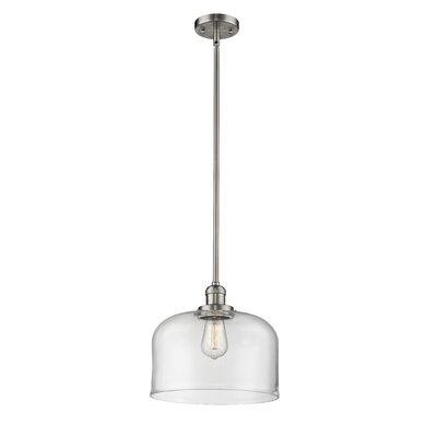 Che 1-Light Mini Pendant Finish: Brushed Satin Nickel, Shade Color: Clear, Size: 13 H x 12 W x 12 D