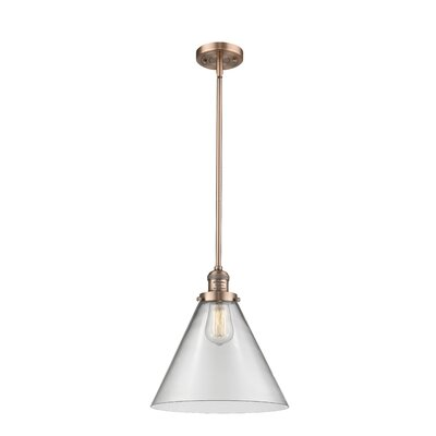 Elonso 1-Light Mini Pendant Finish: Antique Copper, Shade Color: Clear