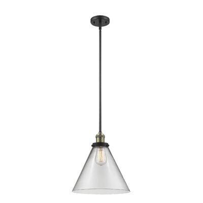 Elonso 1-Light Mini Pendant Finish: Black/Brushed Brass, Shade Color: Clear
