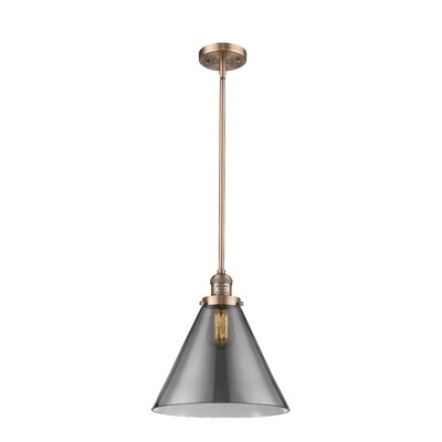 Elonso 1-Light Mini Pendant Finish: Antique Copper, Shade Color: Smoked