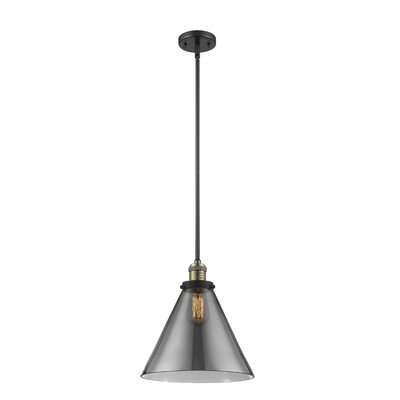 Elonso 1-Light Mini Pendant Finish: Black Brushed Brass, Shade Color: Smoked