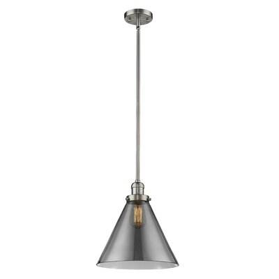 Elonso 1-Light Mini Pendant Finish: Brushed Satin Nickel, Shade Color: Smoked