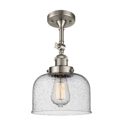 Adne 1-Light Semi Flush Mount Fixture Finish: Brushed Satin Nickel