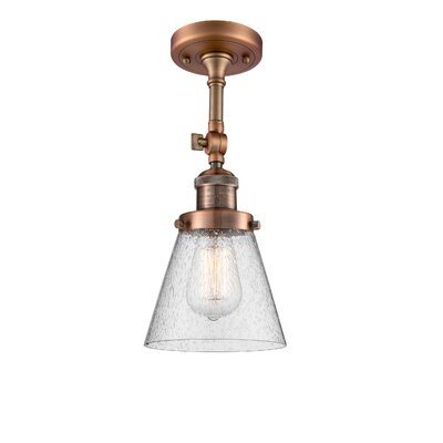 Agustine 1-Light Semi Flush Mount Fixture Finish: Antique Copper, Size: 14 H x 8 W x 8 D