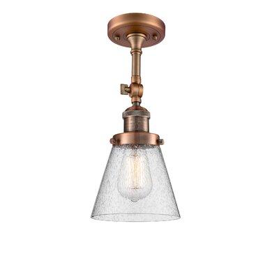Agustine 1-Light Semi Flush Mount Fixture Finish: Antique Copper, Size: 13 H x 6 W x 6 D