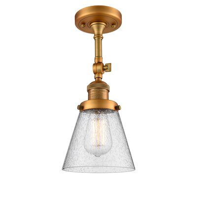 Agustine 1-Light Semi Flush Mount Fixture Finish: Brushed Brass, Size: 12 H x 8 W x 8 D