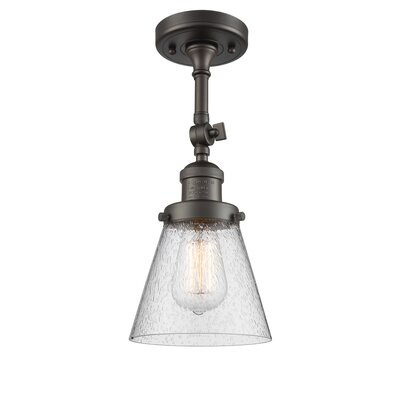 Agustine 1-Light Semi Flush Mount Fixture Finish: Oiled Rubbed Bronze, Size: 11 H x 6 W x 6 D