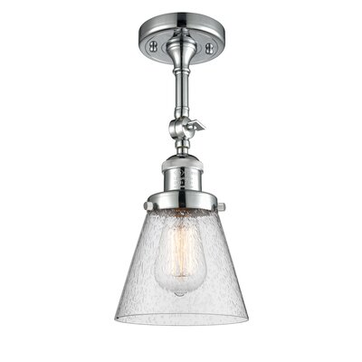 Agustine 1-Light Semi Flush Mount Fixture Finish: Polished Chrome, Size: 12 H x 8 W x 8 D