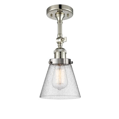 Agustine 1-Light Semi Flush Mount Fixture Finish: Polished Nickel, Size: 12 H x 8 W x 8 D