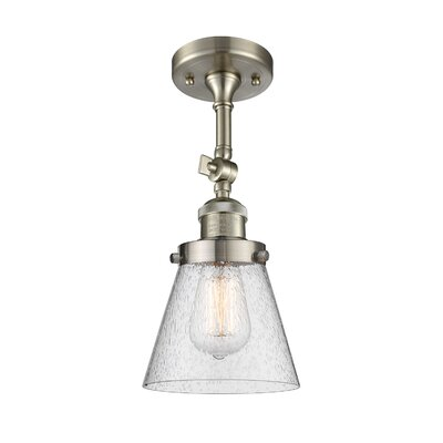 Agustine 1-Light Semi Flush Mount Fixture Finish: Brushed Satin Nickel, Size: 12 H x 8 W x 8 D