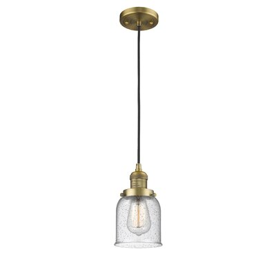 Alvarie 1-Light Mini Pendant Finish: Brushed Brass, Size: 10 H x 5 W x 5 D