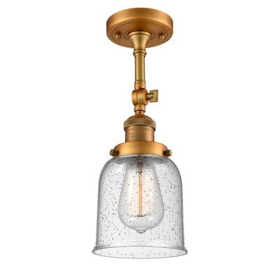 Arsen Small Bell 1-Light Semi Flush Mount Fixture Finish: Brushed Brass