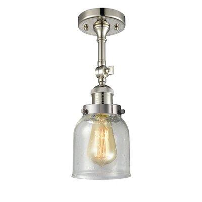 Arsen Small Bell 1-Light Semi Flush Mount Fixture Finish: Polished Nickel