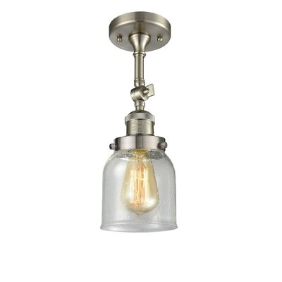 Arsen Small Bell 1-Light Semi Flush Mount Fixture Finish: Brushed Satin Nickel