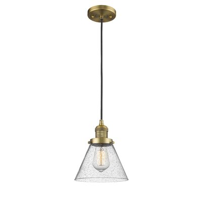 Adalberto 1-Light Mini Pendant Finish: Brushed Brass, Size: 10 H x 8 W x 8 D