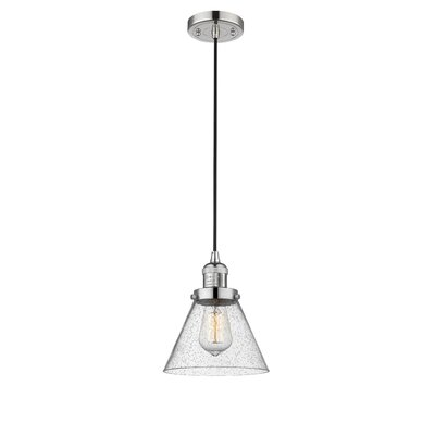 Adalberto 1-Light Mini Pendant Finish: Polished Nickel, Size: 10 H x 8 W x 8 D