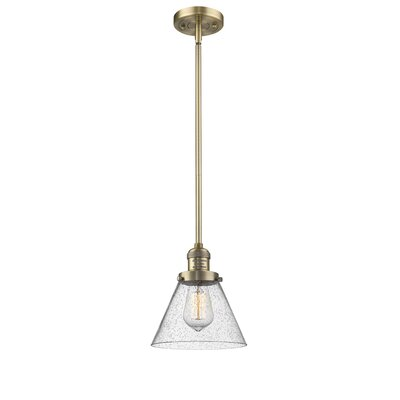 Fabio 1-Light Mini Pendant Finish: Brushed Brass, Size: 10 H x 8 W x 8 D