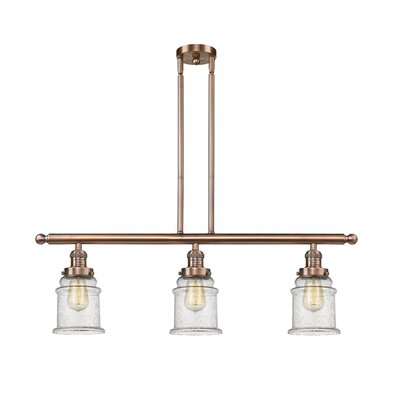Donson 3-Light Kitchen Island Pendant Finish: Antique Copper