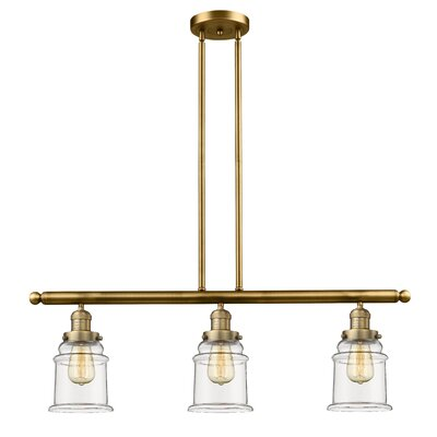 Greeley 3-Light Kitchen Island Pendant Finish: Brushed Brass
