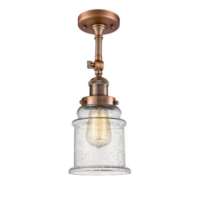 Donson 1-Light Semi Flush Mount Fixture Finish: Antique Copper
