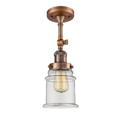 Greeley 1-Light Semi Flush Mount Fixture Finish: Antique Copper