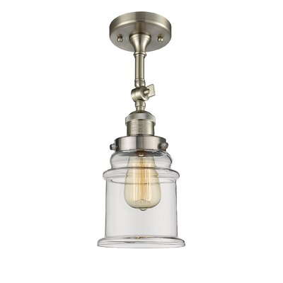 Greeley 1-Light Semi Flush Mount Fixture Finish: Brushed Satin Nickel