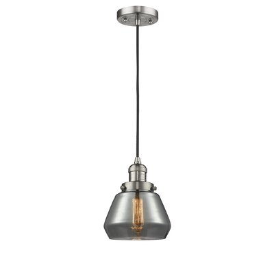 Dupree 1-Light Mini Pendant Finish: Brushed Satin Nickel, Shade Color: Smoked