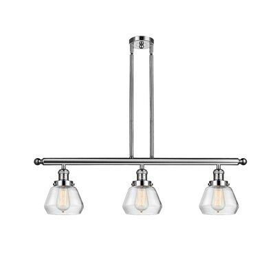 Dupree 3-Light Kitchen Island Pendant Finish: Polished Nickel, Shade Color: Clear