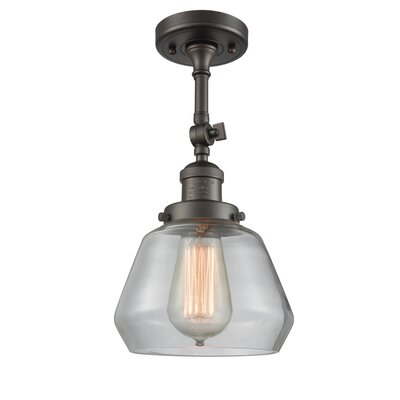 Dupree 1-Light Semi Flush Mount Fixture Finish: Oiled Rubbed Bronze, Shade Color: Clear
