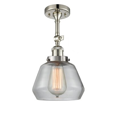 Dupree 1-Light Semi Flush Mount Fixture Finish: Polished Nickel, Shade Color: Clear