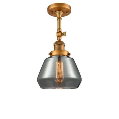 Dupree 1-Light Semi Flush Mount Fixture Finish: Brushed Brass, Shade Color: Smoked